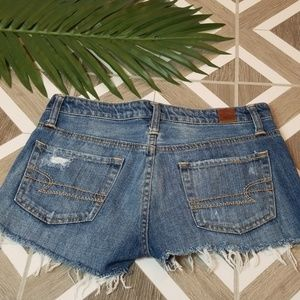 American Eagle Cut Off Denim Shorts Size 4 Fringed